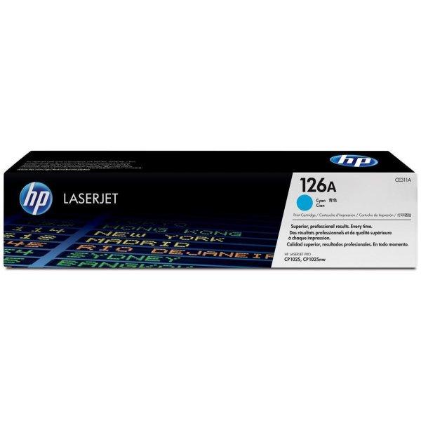 Original HP LaserJet CP 1000 Series (CE311A / 126A) Toner Cyan mit Karton
