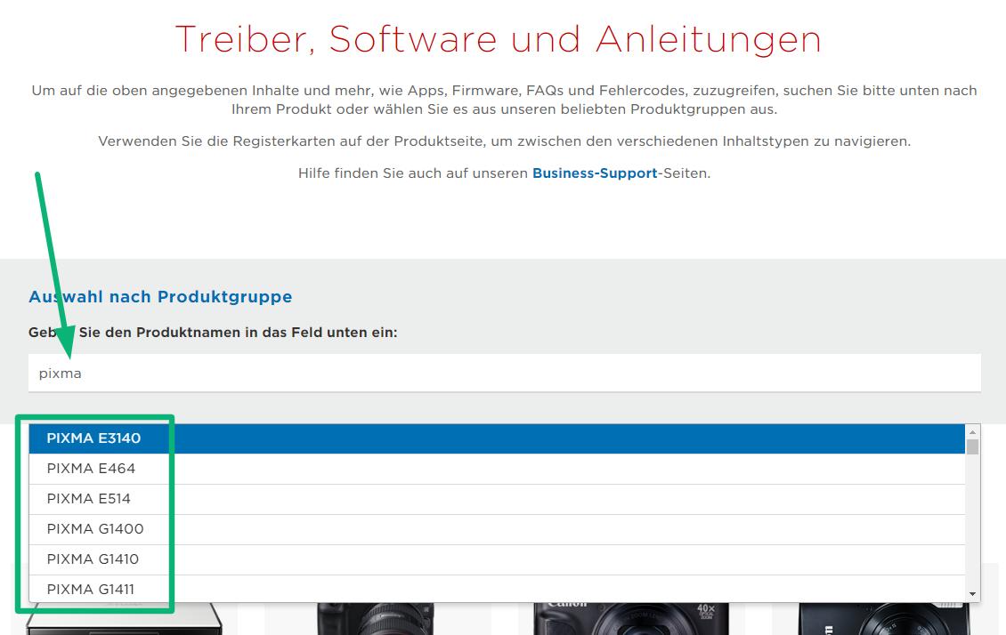 Screenshot der Canon Treiber Website