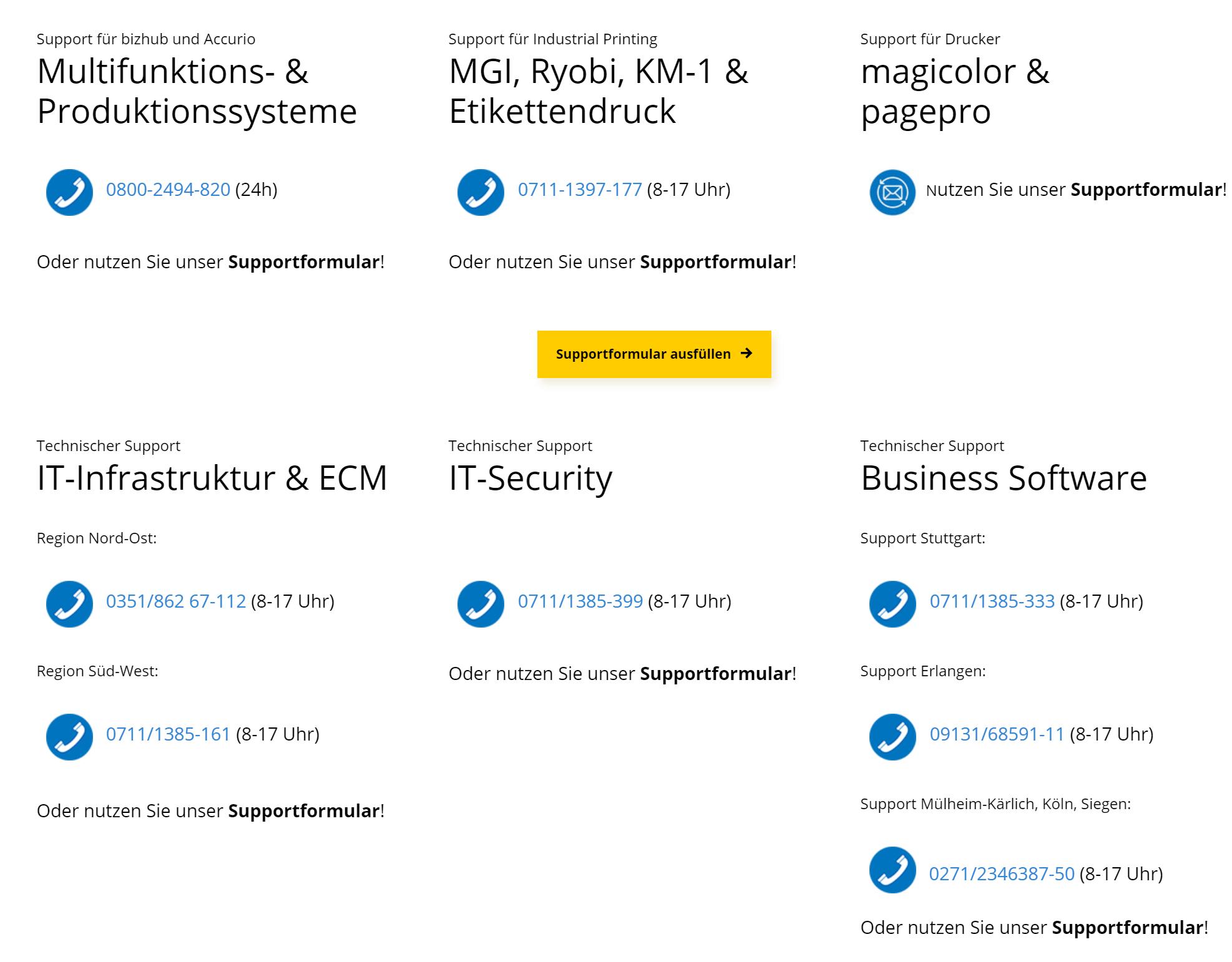 Screenshot der Website Konica Minolta