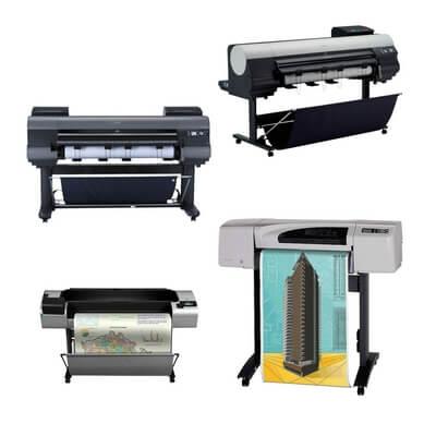 Die Abbildung zeigt Drucker mit Druckköpfen