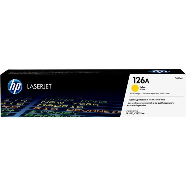 Original HP Color LaserJet Pro CP 1028 nw (CE312A / 126A) Toner Gelb mit Karton