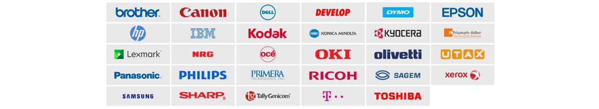 Die Abbildung zeigt verschiedene Druckerhersteller
