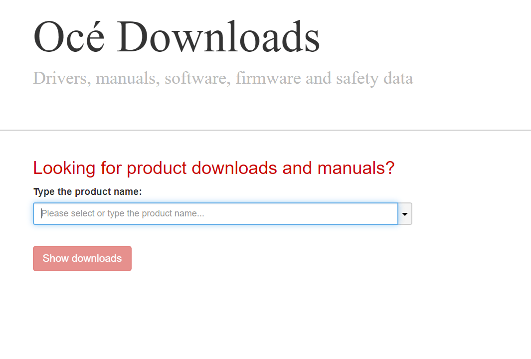 Screenshot OCE Downloads