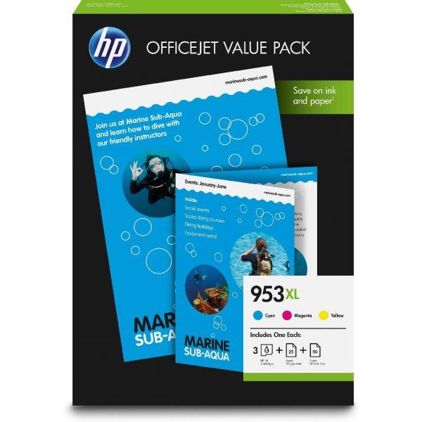 Original HP OfficeJet Pro 8210 (1CC21AE / 953XL) Druckerpatrone Cyan, Magenta, Gelb mit Karton