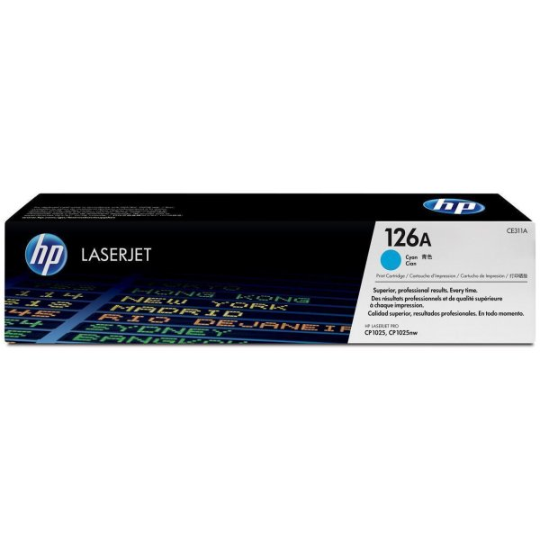Original HP Color LaserJet Pro CP 1025 nw (CE311A / 126A) Toner Cyan mit Karton