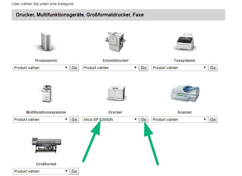 Screenshot der Produkttypen Seite von Ricoh