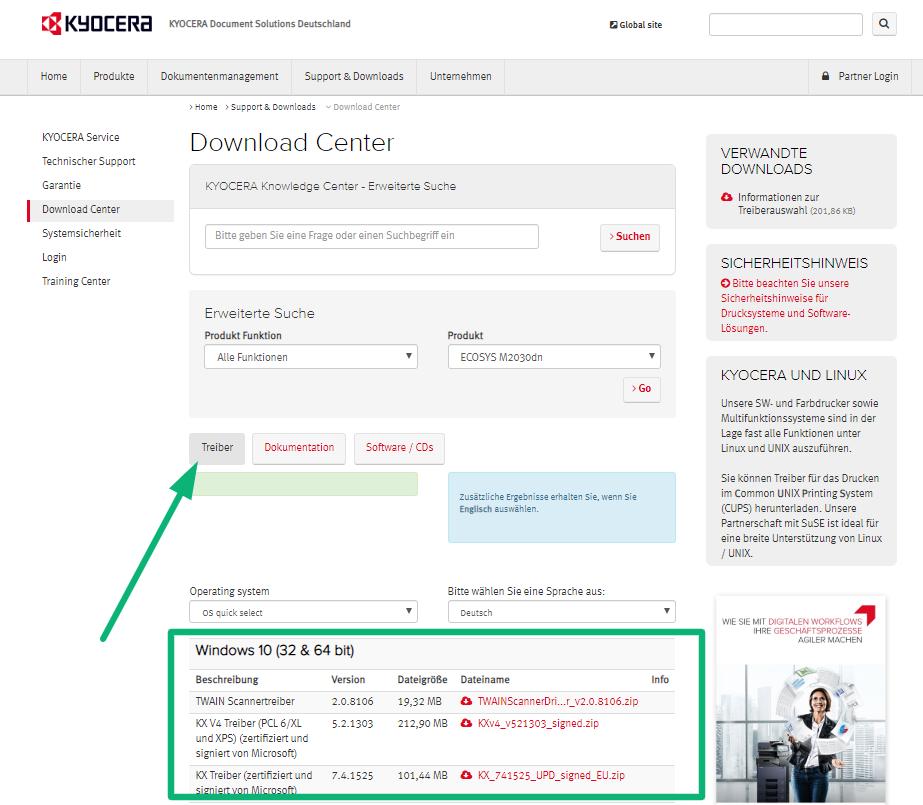 Screenshot zeigt die Kyocera Treiber Download Seite