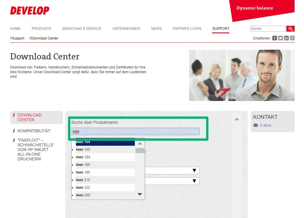 Abbildung zeigt die Website Develop Treiber
