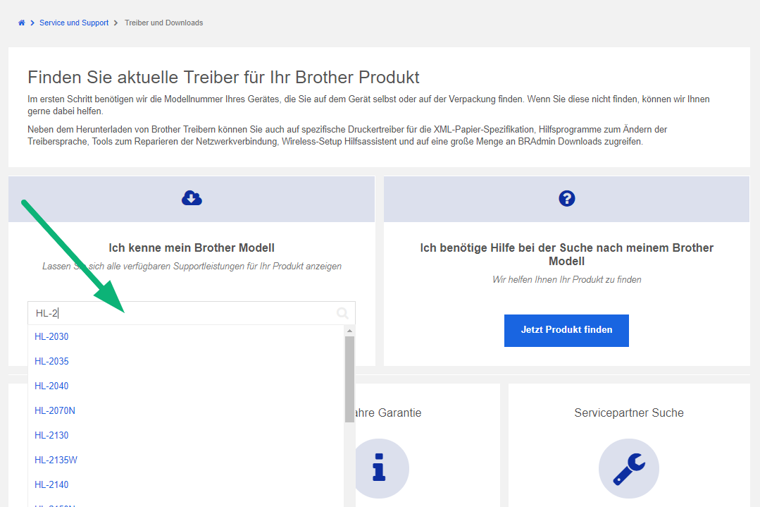 Screenshot der Brother Treiber-Seite
