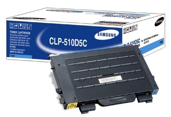 Original Samsung CLP-511 G (CLP-510D5C/ELS) Toner Cyan mit Karton